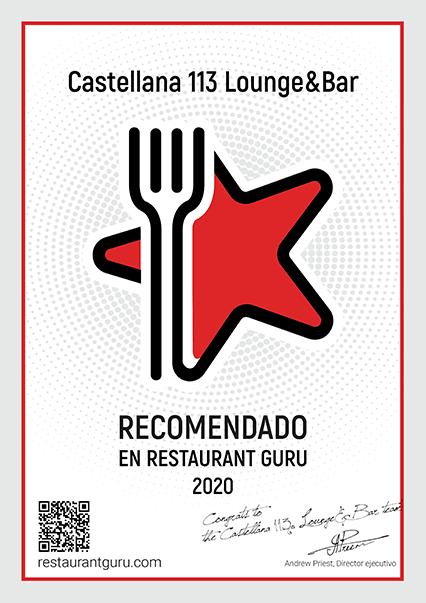 Castellana 113 Lounge & bar certificado RestaurantGuru